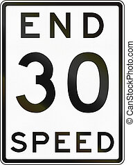 Historic End Speed Limit Sign In Australia