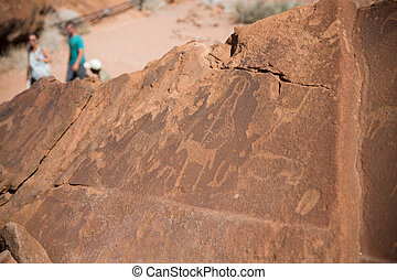 Historic engravings from the Stone Age in Namib