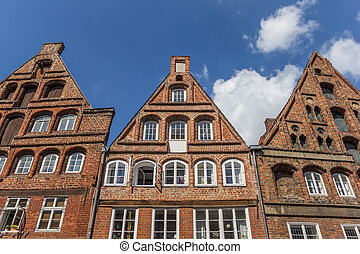 Historic facades in the old town of Luneburg