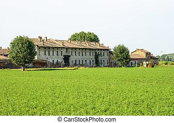 Historic farm near Pavia (Lombardy, Italy) at summer