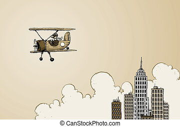 Historic Flight - A cartoon biplane leaves a big city on a...