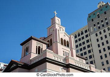 Historic Gesu catholic Church from 1896 in Miami, Florida, USA