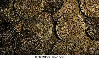 Historic Gold Coins Closeup