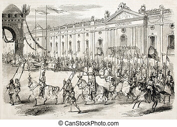 Historic horseback riding - Old illustration of historic...