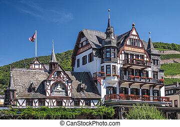 Historic hotel in Assmannshausen in the Rheingau, Hesse, Germany