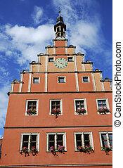Historic house facade in Dinkelsb?hl (Franconia, Germany)