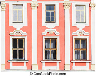 Historic house facade on a white background