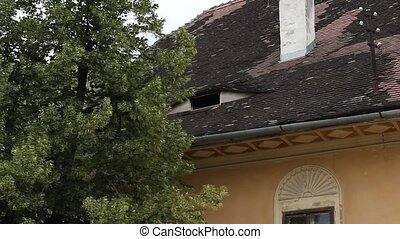 Historic House Open Window - Medieval house pan shot to the...