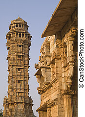 Historic India - Ornate carved stone victory tower (Vijay...