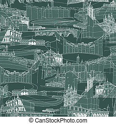 Historic Italian Architecture Collage is seamless pattern with sketch drawings of monuments. Illustration is in eps8 vector mode.