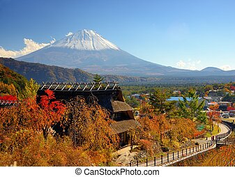 Historic Japanese Huts - Historic Japanese huts in Kawaguchi...