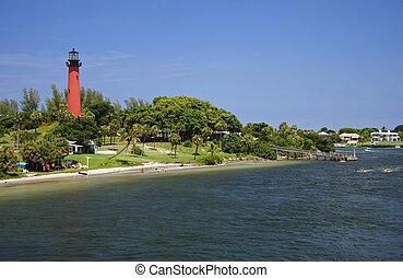 Historic Jupiter Inlet Lighthouse (1860) in Jupiter, Florida