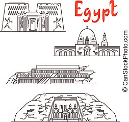 Historic landmarks, sightseeings, famous showplaces of Egypt. Vector thin line icons of Karnak Temple, Mosque of Ibn Tulun, Deir el-Bahari, Abu Simbel for souvenir decoration elements
