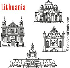 Historic architecture landmarks, sightseeings, famous showplaces of Lithuania. Vector thin line icons of Kaunas Cathedral Basilica, Church of St. Michael Archangel, St. Francis and St. Bernard, St. Peter and St. Paul for souvenir decoration elements