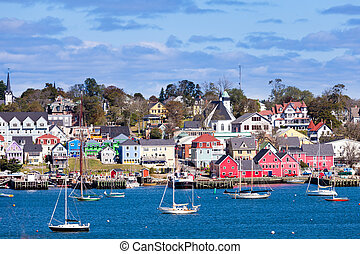 Historic Lunenburg harbor Nova Scotia NS Canada - UNESCO...