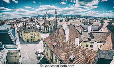 Historic Main square from Fire tower, Sopron, Hungary. ...