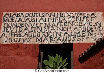 Historic Monasterio de Santa Catali - Inscription carved on ...