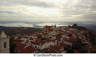 Historic Monsaraz on the hill by lake in Alentejo, Portugal...