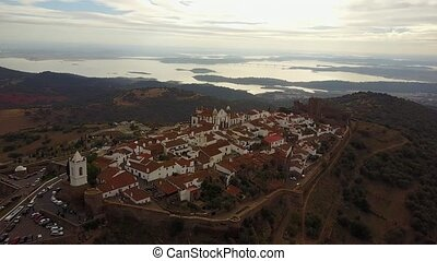 Historic Monsaraz on the hill by lake in Alentejo, Portugal...