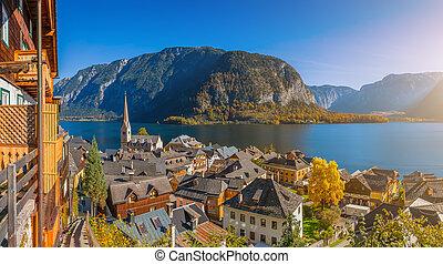 Historic mountain village of Hallstatt with lake in fall, Austria