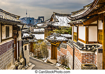 Historic Neighborhood of Seoul - Seoul, South Korea at the...