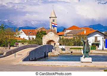 Historic Nin town bridge and gate, Dalmatia, Croatia