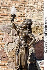 historic nympho sculpture museum light lamp hand