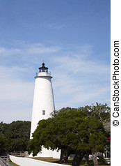 Historic Ocracoke Lighthouse on the barrier islands of the Outer Banks, North Carolina