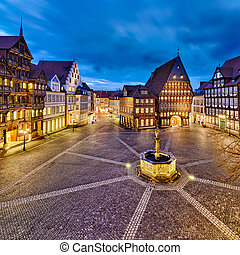 Historic market place in the old city of Hildesheim, Germany