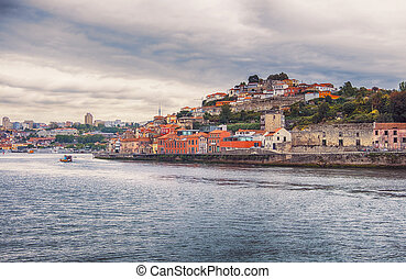 historic part of Porto from river Douro - view of historic...