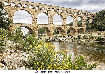 Historic Pont du Gard aqueduct in Southern France