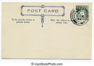 Historic post card with green Irish stamp