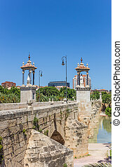 Historic Puente Del Mar bridge in the Turia river park in Valencia