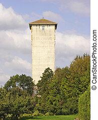 Historic quadrangular white water tower