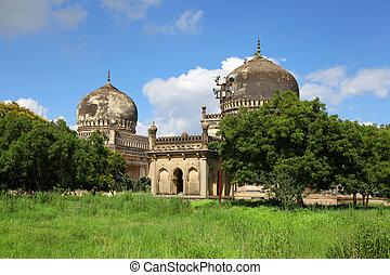 Historic Quli Qutb Shahi tombs in Hyderabad.