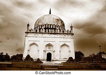 Historic Quli Qutb Shahi Tombs in sepia color tone