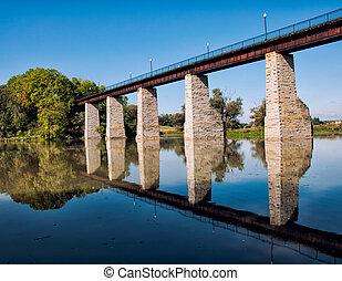 Historic Railroad Trestle Reflection - Historic railroad...