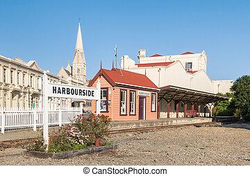 historic railway station in Oamaru town, North Otago, South Island, New Zealand