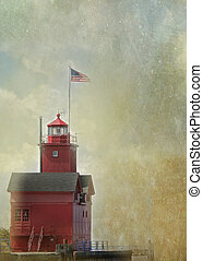Historic Red Lighthouse - Historic red lighthouse with...