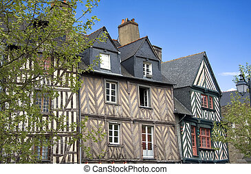 Historic Rennes - The half-timbered buildings of Rennes,...