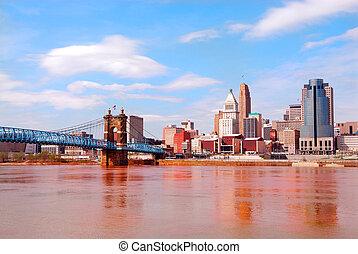 Historic Roebling Bridge, Cincinnati Ohio, USA
