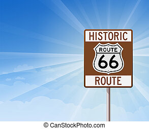 Historic Route 66 and Blue Sky - Scenic route sign in brown...