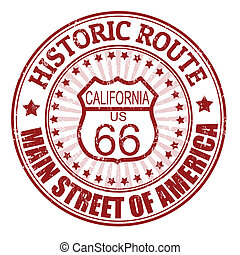 Historic Route 66, California stamp - Grunge rubber stamp...
