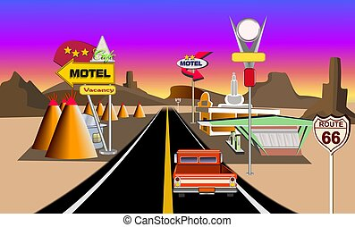 Historic route 66 concept illustration showing service areas...