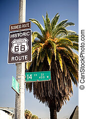 Historic route 66 highway sign