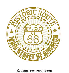 Historic Route 66, New Mexico stamp - Grunge rubber stamp ...
