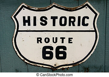 Old historic route 66 sign on the wall
