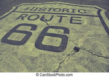 Historic route 66 on the asphalt