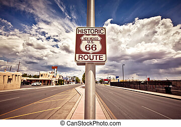 Historic route 66 route sign