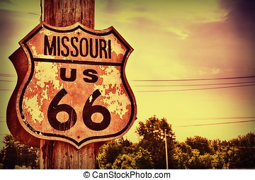 Historic route 66 sign in Missouri.